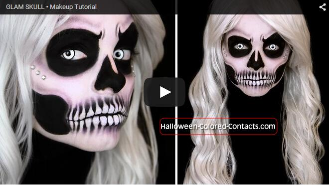 glam skull makeup tutorial halloween colored contactshalloween makeup halloween costume