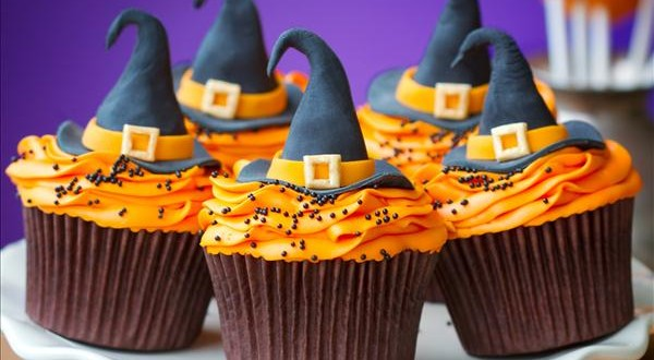 halloween cupcake decorations witch hats orange cream